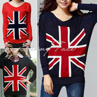Loose Union Jack UK Flag Design Sweater Jumper Pullover Outerwear Women Casual