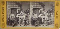 Napoli Spaghetti Italia Fotografia Sommer Stereo Vintage Albumina