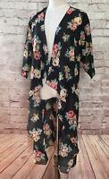 LuLaRoe Womens Small SHIRLEY Kimono Sheer Black Floral 3/4 Sleeves Open Front