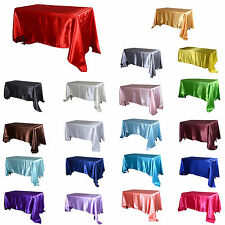 "TulleShop 90"" x 132"" Inch Rectangular Satin Tablecloth Table Cover Wedding Party"