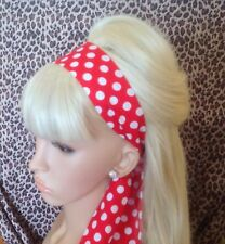 RED WHITE POLKA DOT SPOTTY HEAD HAIR BAND SCARF SELF TIE BOW VINTAGE 50'S STYLE