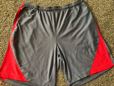 Mens Gray Under Armour Athletic Shorts Size XXL  Red Logo Elastic Waist Active