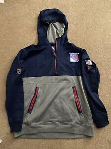 Kevin Rooney Player Worn 2021 1/4 Zip New York Rangers Hoodie Sweatshirt - COA