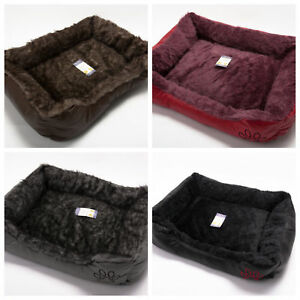 Soft Comfy Wrax Leather Washable Dog Pet Cat Warm Basket Bed with Fleece Cosy