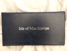 BLUE ISLE OF MAN 2-RING STAMPS ALBUM SILVER TITLE EMPTY (IOM2)