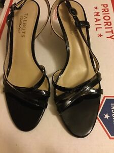EXCELLENT CONDITION Talbots Black Patent Leather Strappy Slingbacks - 7.5
