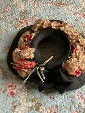 Vintage 1940s New York Creation Wide Brim Adjustable Floral Hat