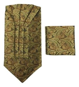Paisley Cravat Ascot Tie & Pocket Square Floral Hanky Wedding Handkerchief UK