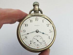 Running nice Elgin Model 5 17 jewel 1911 18s grade 336 clean face dial nickel