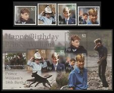 Fiji: 2000, 18th Birthday of Prince William, SG 1097-1100 + MS1101, MNH