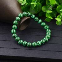 Handmade Natural 6/8/10mm Green Malachite Round Gemstone Beads Stretch Bracelets