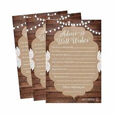 50 4x6 Rustic Wedding Advice & Well Wishes For The Bride and Groom Cards,...