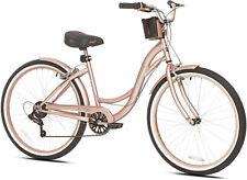 Beach Cruiser Bike Women's 26 Rose Gold Hybrid Low Step-through Bicycle