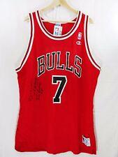 Vintage Champion Chicago Bulls Toni Kukoc Autographed Signed Jersey sz 52