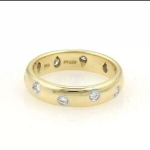 Tiffany & Co. Etoile Diamond 18k Yellow Gold Platinum 4mm Band Ring Size 4.25
