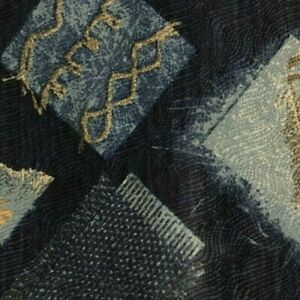 Blue Abstract Patch Silk YSL Tie
