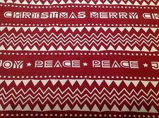 CHRISTMAS Tablecloth Retro 70s Design 78 x 62 Barkcloth Cotton Rusty Red Cream