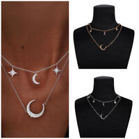 Gold Silver Plated 2Layer Crystal Rhinestone Moon Star Pendant Necklace Choker