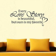 "Quote Word Art Decal ""EVERY LOVE STORY"" Wall Sticker Vinyl Mural Home Decor New"