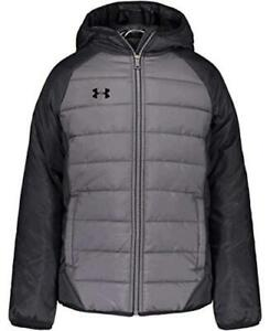 Under Armour Boys' Pronto Puffer Jacket, Pitch Gray F202, Size Large Ogu7