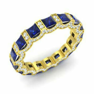 3.88 Ct Certified Diamond Blue Sapphire Band 14K Solid Yellow Gold Gemstone Ring