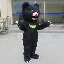 Adults Cosplay Long Fur Black Bear Mascot Costume Outfit Animal Party Dress