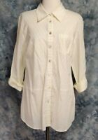 Soft Surroundings Womens sz M White Yellow Stripe Roll Tab Button Down Tunic Top