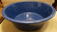 "Vintage Dark Blue and White Graniteware Enamelware Speckled Wash Basin 16"" Dia"