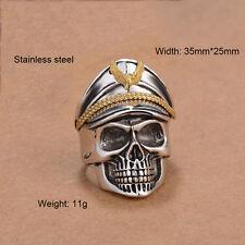 Totenkopf Ring Edelstahl Herren Biker Stahlhelm Wehrmacht Skull Militär Offizier