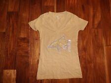 NEW Womens KNIGHTS APPAREL Gold Montana State Bobcat Short Sleeve V-Neck Shirt M