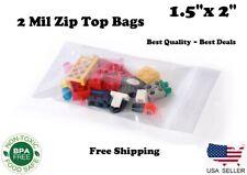 15x2 Zip Top Bags Clear 2 Mil Plastic Resealable Lock 2mil Small Mini Baggies