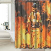 Firemen Fire Shower Curtain + 12 Hooks Waterproof Bathroom Home Decor 180x150cm
