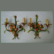VINTAGE FLORENTINE ITALIAN TOLE  PAIR WALL LAMP SCONCE 2 LIGHTS FLOWERS VTG