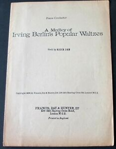 EDDIE DEE A MEDLEY OF IRVING BERLIN WALTZES PIANO CONDUCTOR SHEET MUSIC (1939)