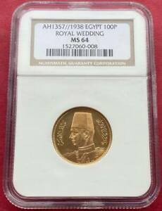 EGYPT , GOLD 100 PIASTRES KING FAROUK 1938 UNC - NGC MS 64 , RARE
