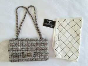Chanel Grey Tweed Medium Classic Flap 2013 Winter Used with Authenticity Card