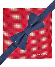 NEW Tommy Hilfiger Silk Bow Tie with Pocket Square Christmas Red Blue Mens A3490
