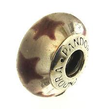 Pandora Maroon Stars Murano Charm Retired 790903 Sterling Silver Glass Purple