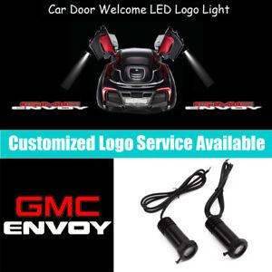 2x Red GMC White ENVOY Logo Car Door LED Light Projector for GMC ENVOY XL XUV