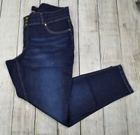 Woman Within Plus Ankle Slim Leg Jeans Pants Mid Rise Dark Wash Blue Size 22W