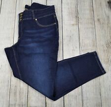 Woman Within Plus Ankle Slim Leg Jeans Pants Mid Rise Dark Wash Blue Size 22W