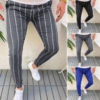 Men's 100%Cotton Slim Fit Vogue Striped Trousers Tracksuit Pants Joggers Skinny