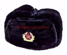Russian Ushanka Military Black Winter Soviet Hat USSR Soldier Red Star badge Cap