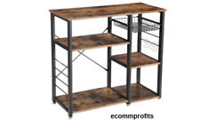Kitchen Microwave Stand Storage Bakers Rack Wood Shelves 6 Hooks Home Furniture