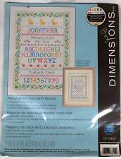 Dimensions Counted Cross Stitch Kit Alphabet Sampler Birth Record 9 by 12 Inches