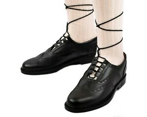 Leather Ghillie Brogue Black Traditional Scottish Shoes for kilt size 41-46 New