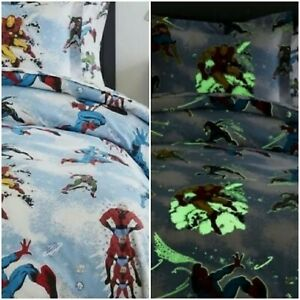 Pottery Barn Glow-in-the-Dark DC JUSTICE LEAGUE Flannel Sheet Set Twin NEW
