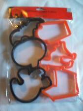 NEW 6 PACK PLASTIC HALLOWEEN COOKIE CUTTERS BAT CAT GHO