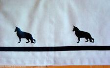 German Shepherd Dog Window Valance Natural denim w/ black dogs and ribbon SALE
