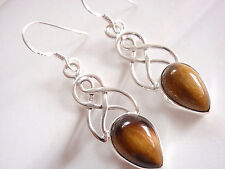 Tiger Eye Earrings 925 Sterling Silver Dangle Drop Double Infinity New 7.5ct